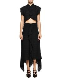 Proenza Schouler - Black Asymmetric-hem Tweed Skirt - Lyst