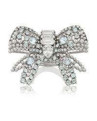 Miu Miu - Blue Silver-Plated Swarovski Crystal Bow Ring - Lyst
