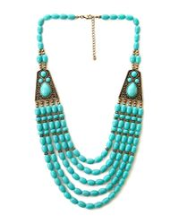 Forever 21 - Blue Boho Beaded Necklace - Lyst