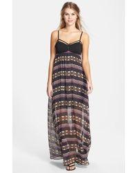 Volcom - Black 'playa' Print Maxi Dress - Lyst