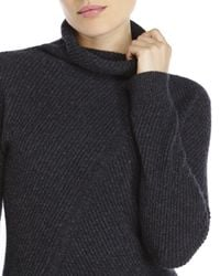 Qi | Gray Diagonal Ribbed Cashmere Turtleneck Sweater | Lyst