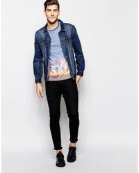 ASOS - Blue T-shirt With Photographic Palm Print And Contrast Pocket And Sleeves for Men - Lyst