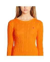Polo Ralph Lauren | Orange Cable-knit Cotton Sweater | Lyst