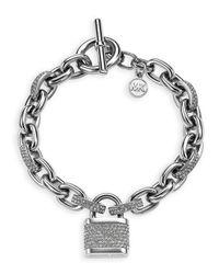 Michael Kors - Metallic Pavé Padlock Toggle Bracelet - Lyst