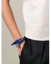 Alexander McQueen | Blue Double Wrap Skull Bracelet | Lyst