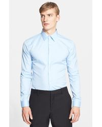 Burberry - Blue 'seaford' Trim Fit Dress Shirt for Men - Lyst