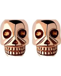 Links of London | Pink Mini Skull Rose Gold Vermseil Stud Earrings - For Women | Lyst