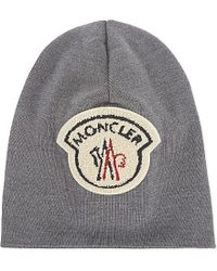 Moncler | Gray Virgin Wool Large Logo Beanie for Men | Lyst