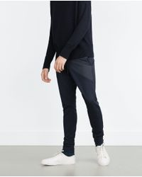 Zara | Blue Jogging Trousers With Contrast Detail for Men | Lyst