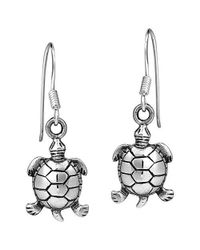 Aeravida - Metallic Serene Spirit Sea Turtle Sterling Silver Dangle Earrings - Lyst