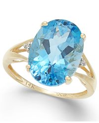 Macy's | Metallic Blue Topaz (6-1/2 Ct. T.w.) And Diamond Accent Ring In 14k Gold | Lyst