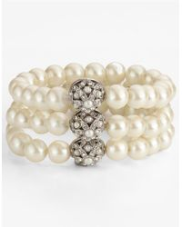 Carolee | White 3-row Stretch Faux Pearl Bracelet | Lyst