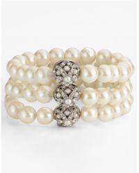 Carolee | White 3-row Stretch Faux Pearl Bracelet | Lyst