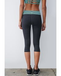 Forever 21 | Gray Heathered Stripe-waist Capri Leggings | Lyst