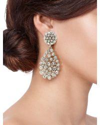 Oscar de la Renta - Metallic Pave Teardrop Earrings - Lyst