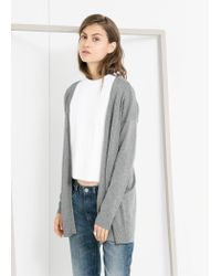 Mango - Gray Long Cardigan - Lyst