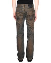 John Richmond - Brown Denim Trousers for Men - Lyst