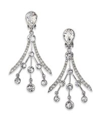 Oscar de la Renta | Metallic Swarovski Crystal Fan Earrings | Lyst