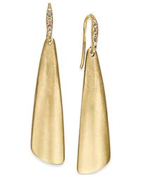 ABS By Allen Schwartz | Metallic Gold-tone Brushed Metal Drop Earrings | Lyst