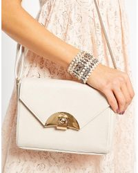 French Connection - White Tonal Bead Stretch Bracelet - Lyst