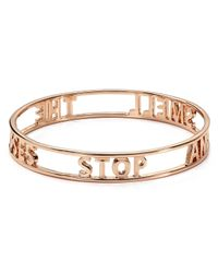 kate spade new york | Metallic Stop and Smell The Roses Words Of Wisdom Bangle | Lyst