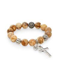 Cara | Natural Jasper Bead Cross Charm Bracelet | Lyst