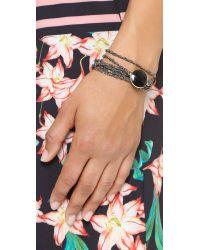 Sogoli | Stone Chain Wrap Bracelet - Gunmetal/black/gold | Lyst