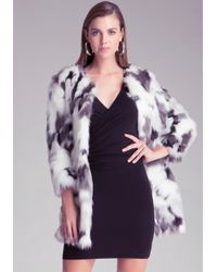 Bebe - Black Lizzi Faux Fur Coat - Lyst