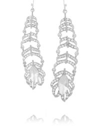 Kenneth Jay Lane - Metallic Rhodium-plated Crystal Earrings - Lyst