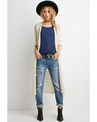 Forever 21 | Natural Loose Knit Tasseled Cardigan | Lyst