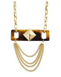 A.V. Max - Metallic Gold Metal And Tortoise Print Acrylic Spike Tag Charm Necklace - Lyst