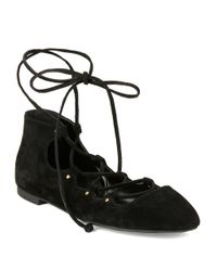 French Connection | Black Kamilla Suede Lace-up Ballet Flats | Lyst