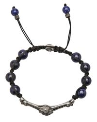 Roman Paul - Blue Fleur De Lis Beaded Bracelet for Men - Lyst