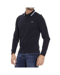 Fred Perry - Blue T-shirt Polo Mesh Long Sleeve Contrast for Men - Lyst