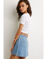 Forever 21 | White Cropped Open-knit Top | Lyst