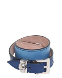Alexander McQueen - Blue Leather Double Wrap Bracelet With Skull - Lyst