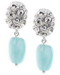 Jones New York - Metallic Silver-Tone Crystal And Aqua Drop Clip-On Earrings - Lyst