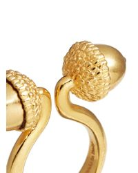 Alexander McQueen - Metallic Double Acorn Brass Ring - Lyst