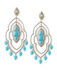 John Hardy   Blue Batu Dot Morocco Chandelier Earrings   Lyst