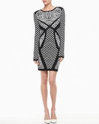 Nicole Miller Artelier | Black Longsleeve Mixedprint Sweater Dress | Lyst