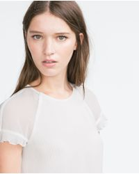 Zara   Natural Pleated Top   Lyst