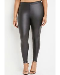 Forever 21 | Black Plus Size Metallic Faux Leather Leggings You've Been Added To The Waitlist | Lyst