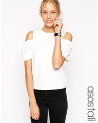ASOS | Natural Top With Cold Shoulder | Lyst