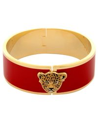 Halcyon Days | Red Large Leopard Head 18Ct Gold Plated Bangle | Lyst