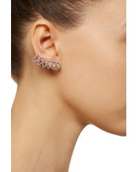 Noir Jewelry | Metallic Rhodium-Plated Crystal Ear Cuffs | Lyst