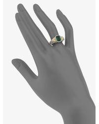 Judith Ripka | Metallic Estate Green Quartz, White Sapphire & Sterling Silver Cushion Ring | Lyst