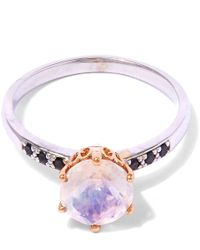 Anna Sheffield | Metallic White Gold Rainbow Moonstone Hazeline Solitaire Ring | Lyst