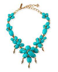 Oscar de la Renta | Blue Oval Cabochon Cluster Necklace | Lyst