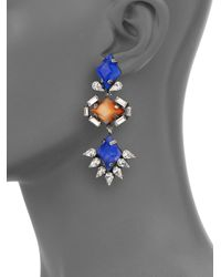 DANNIJO - Blue Dayna Crystal Drop Earrings - Lyst