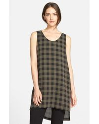 Eileen Fisher | Brown Scoop Neck Plaid Print Silk Tunic | Lyst